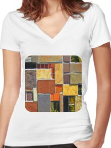 Tile Mix  Women's Fitted V-Neck T-Shirt