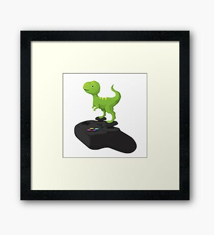Toy T-Rex Gamer Framed Print