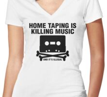 Home Taping Women's Fitted V-Neck T-Shirt