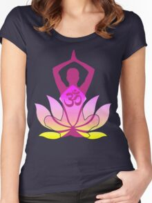 OM Namaste Yoga Pose Lotus Flower Women's Fitted Scoop T-Shirt