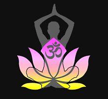 OM Namaste Yoga Pose Lotus Flower Womens Fitted T-Shirt