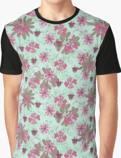 Pink and Green Floral Pattern Graphic T-Shirt