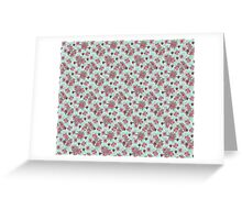 Pink and Green Floral Pattern Greeting Card