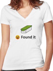 Found It - Geocache Box & Smiley Face Icon Women's Fitted V-Neck T-Shirt