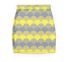 Yellow and Gray Scalloped Pattern Mini Skirt