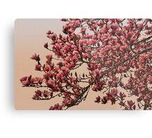 Magnolia Tree In Bloom - Antique Victorian Needlepoint Effect Metal Print