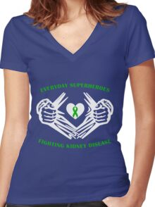 Kidney Disease Heroes Women's Fitted V-Neck T-Shirt