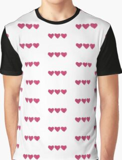 Pink Love Hearts in a Row Graphic T-Shirt