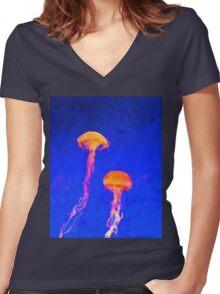 jellyfish aquatic sea wildlife animal  Women's Fitted V-Neck T-Shirt