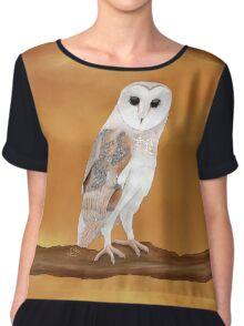 Lucky Barn Owl on an Amber Sky Women's Chiffon Top