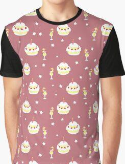 Strawberry Cake Fruit Drink Pattern Graphic T-Shirt