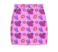 Citrus Grapes Strawberry Pattern Mini Skirt