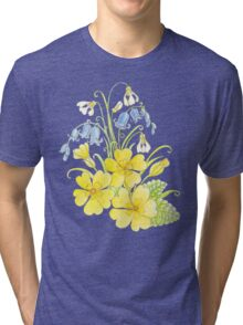 Spring flowers pencil and watercolor  Tri-blend T-Shirt