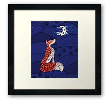 Fox and moon zentangle  Framed Print