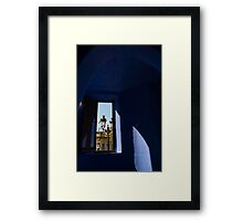 Rich Blues and Purples - Through the Window of Antoni Gaudi's Gatekeeper House in Park Guell Framed Print