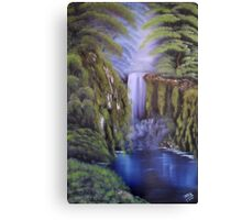 A deep woods waterfall on a black canvas Canvas Print