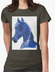 Moody Blue Horse Womens Fitted T-Shirt