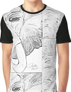 black and white elephant original painting Graphic T-Shirt