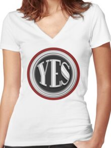 YES  cafe art deco style  Women's Fitted V-Neck T-Shirt