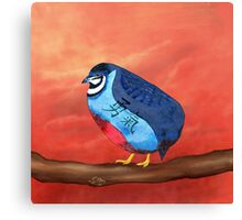 Courageous Quail on a Sunset Pink Sky  Canvas Print