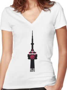 Toronto Raptors We The North (CN Tower) Women's Fitted V-Neck T-Shirt