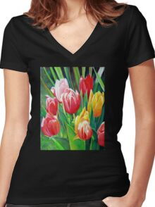 Garden Tulips  Women's Fitted V-Neck T-Shirt