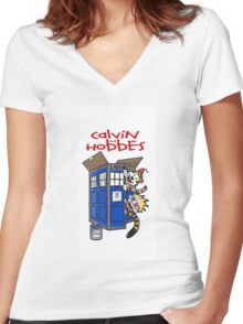 calvin and hobbes police box tardis Women's Fitted V-Neck T-Shirt