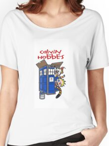 calvin and hobbes police box tardis Women's Relaxed Fit T-Shirt