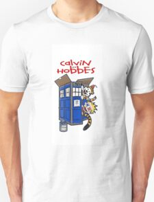 calvin and hobbes police box tardis T-Shirt