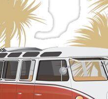VW Bus 21 Window Samba Van Red Palms Sticker