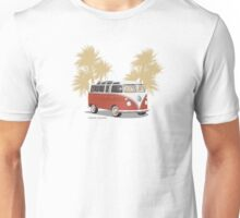 VW Bus 21 Window Samba Van Red Palms Unisex T-Shirt