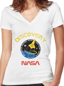 STS-120 Discovery Mission Patch Women's Fitted V-Neck T-Shirt