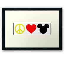 Peace, Love, Mickey Framed Print