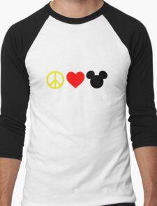 Peace, Love, Mickey Men's Baseball ¾ T-Shirt