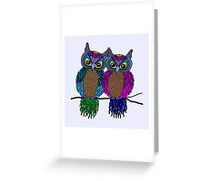 Owls in love colour Greeting Card