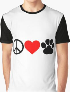Peace, Love, Paws Graphic T-Shirt