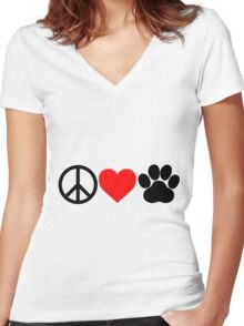 Peace, Love, Paws Women's Fitted V-Neck T-Shirt