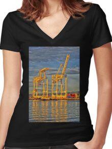 Port Of Oakland Women's Fitted V-Neck T-Shirt