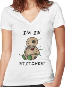 In stitches! Women's Fitted V-Neck T-Shirt