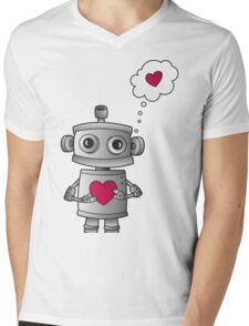 Valentine Robot Mens V-Neck T-Shirt