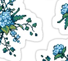 Pixel Floral - Arrangement in Blue Sticker