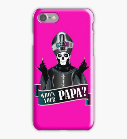 WHO'S YOUR PAPA? - papa 3 flippin' the bird-magenta iPhone Case/Skin