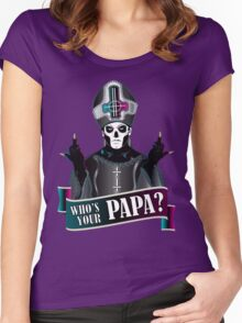 WHO'S YOUR PAPA? - papa 3 flippin' the bird-magenta Women's Fitted Scoop T-Shirt