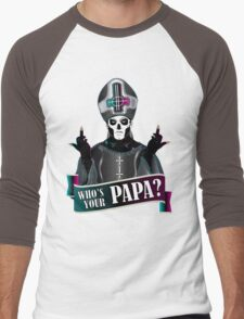 WHO'S YOUR PAPA? - papa 3 flippin' the bird-magenta Men's Baseball ¾ T-Shirt