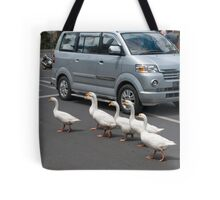 Pedestrians Crossing Tote Bag