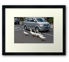 Pedestrians Crossing Framed Print