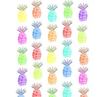 watercolor colorful pineapple Photographic Print