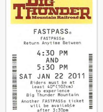 Big Thunder Mountain Railroad Fastpass Sticker