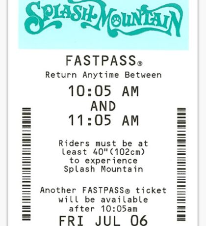 Splash Mountain Fastpass Sticker