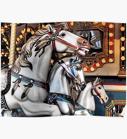 Vintage Horse Carousel Merry-Go-Round Carnival Ride  Poster